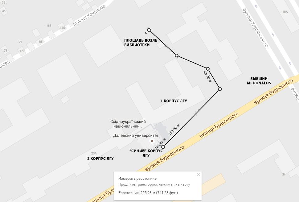 Путь следования к библиотечной площади ЛНУ